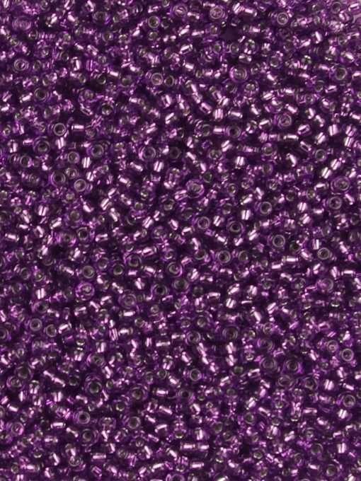 Japanese Seed Bead, Miyuki Round Rocailles 11-26, Transparent Dark Purple Silver Lined, 11/0