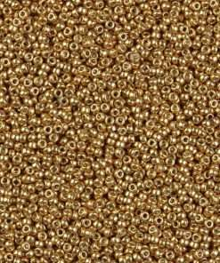 Japanese Seed Bead, D4202, Duracoat Galvanized Bright Gold, 15/0 14 grams