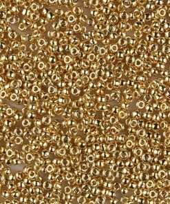 Japanese Seed Bead, Miyuki 11-191/11-465, Opaque Bright 24Kt Gold Plated, 11/0 20 grams