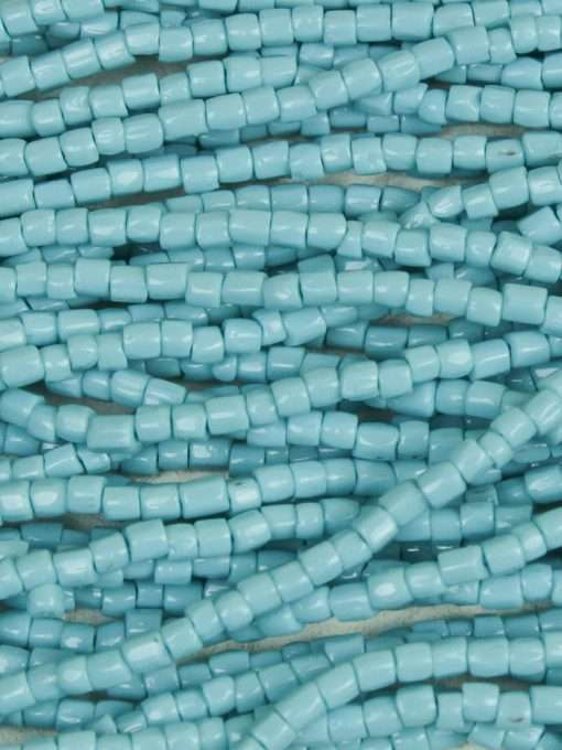 Czech 3cut Seed Beads, Opaque Dark Turquoise Blue, 9/0 1 Hank