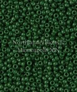 Japanese Seed Bead, TOHO 47H/411B, Opaque Dark Green, 11/0 30 grams