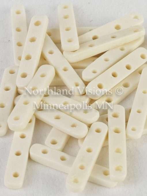 4 Hole Bone Spacer White 25pc