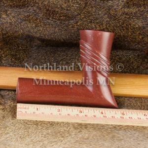 8285-4-Plains-elbow-Raised-Rings-pipestone-pipe-Catlinite-ceremonial-peacepipe-peace
