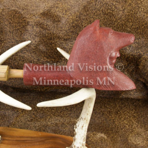 9155-1-Pipestone-Pipe-Wolf-Headdress-head-Cedar-Stem-peacepipe-peace-catlinite-ceremonial