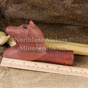 9155-4-Plains-Wolf-headdress-pipestone-pipe-Catlinite-ceremonial-peacepipe-peace