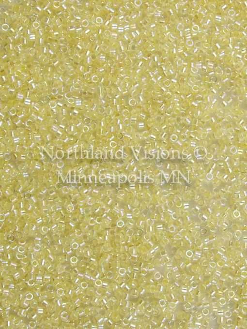 Miyuki Delica Cylinder Bead, DB0053, Transparent Pale Yellow AB, 11/0 7 grams