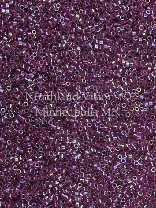Miyuki Delica Cylinder Bead, DB0056, Transparent Color Lined Magenta AB, 11/0 7 grams