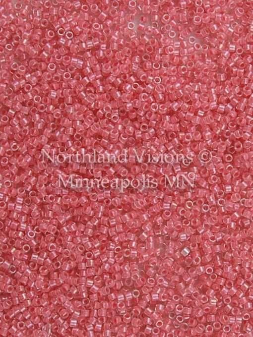 Miyuki Delica Cylinder/Seed Bead, DB0070/DB070 DB70, Transparent Crystal Color Lined Rose Pink, 11/0 7 grams