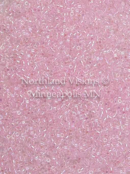 Miyuki Delica Cylinder/Seed Bead, DB0071/DB071 DB71, Transparent Color Lined Pink AB, 11/0 7 grams