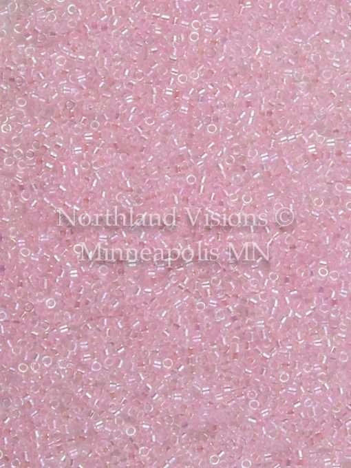 Miyuki Delica Cylinder Bead, DB0071, Transparent Color Lined Pink AB, 11/0 7 grams