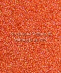 Miyuki Delica Cylinder Bead, DB0855, Transparent Orange AB Matte, 11/0 7 grams
