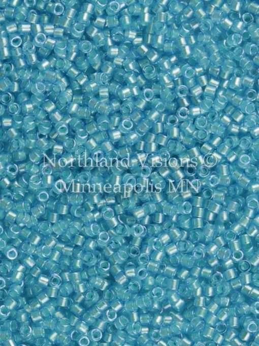 Miyuki Delica Cylinder Bead, DB1708, Transparent Color Lined Ocean Blue Luster, 11/0 7 grams