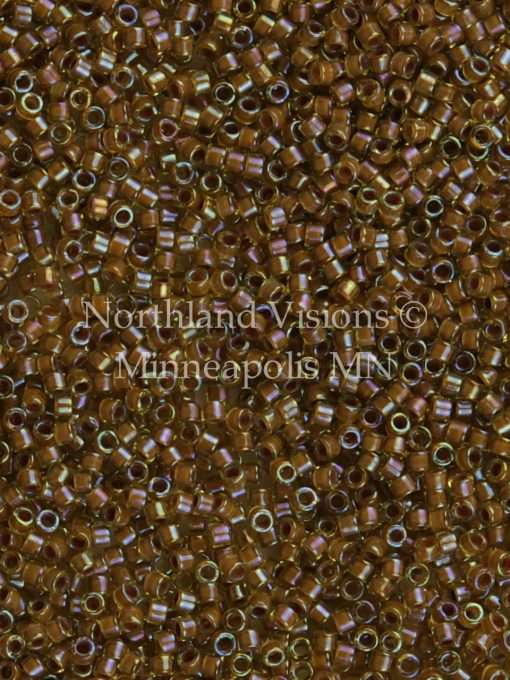Miyuki Delica Cylinder/Seed Bead, DB1738, Transparent Cocoa Color Lined Chartreuse AB, 11/0 7 grams