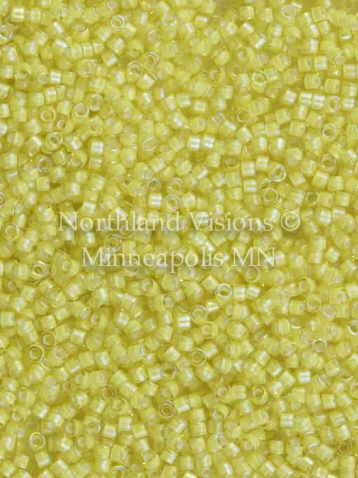 Miyuki Delica Cylinder Bead, DB1776, Transparent Yellow Inside Dyed Color White, 11/0 7 grams
