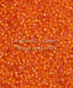 Miyuki Delica Cylinder Bead, DB1777, Transparent Orange Inside Dyed Color White, 11/0 7 grams