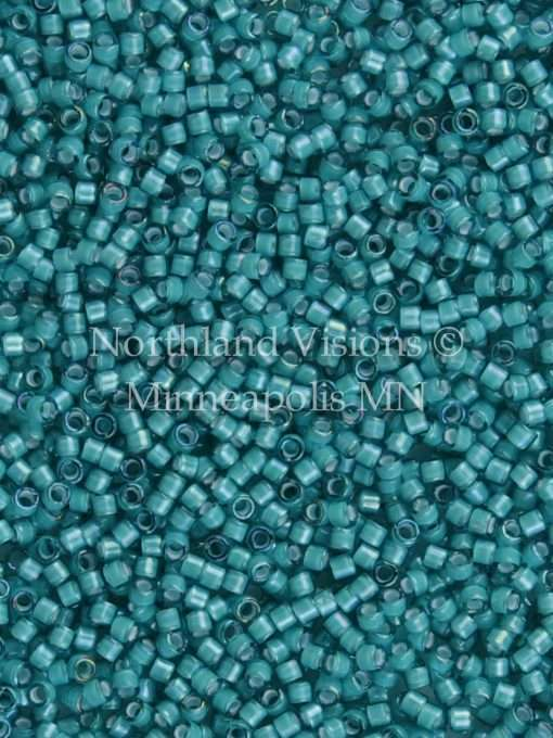 Miyuki Delica Cylinder Bead, DB1782, Transparent Teal Inside Dyed Color White, 11/0 7 grams