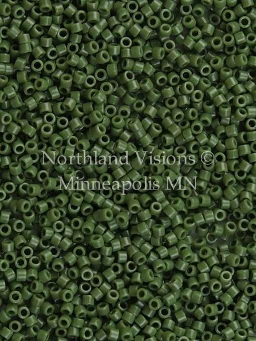 Miyuki Delica Cylinder Bead, DB1135, Opaque Avocado Green, 11/0 7 grams