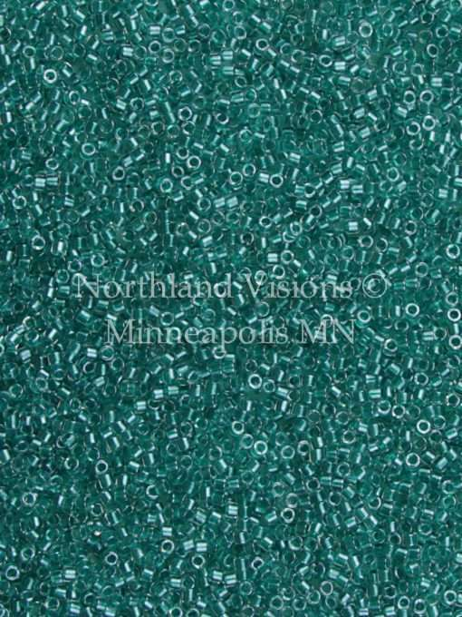 Miyuki Delica Cylinder Bead, DB0918, Transparent Crystal, Color Lined Teal, 11/0 7 grams
