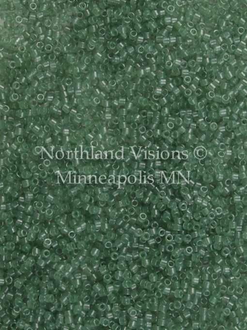 Miyuki Delica Cylinder Bead, DB1415, Transparent Light Moss Green, 11/0 7 grams