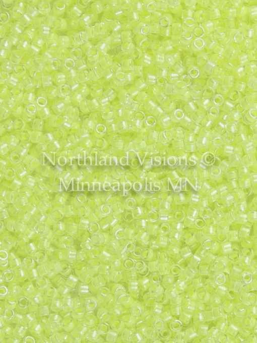Miyuki Delica Cylinder Bead, DB2031, Luminous Inside Color Lime Aid, 11/0 7 grams