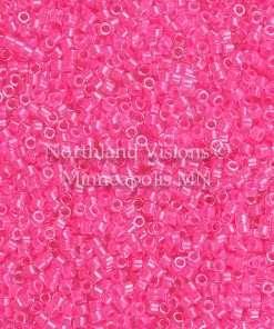Miyuki Delica Cylinder Bead, DB2035, Luminous Inside Color Wild Strawberry, 11/0 7 grams
