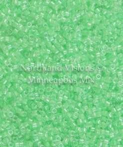 Miyuki Delica Cylinder Bead, DB2040, Luminous Inside Color Mint Green, 11/0 7 grams