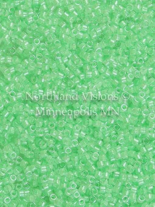 Miyuki Delica Cylinder/Seed Bead, DB2040, Luminous Inside Color Mint Green, 11/0 7 grams