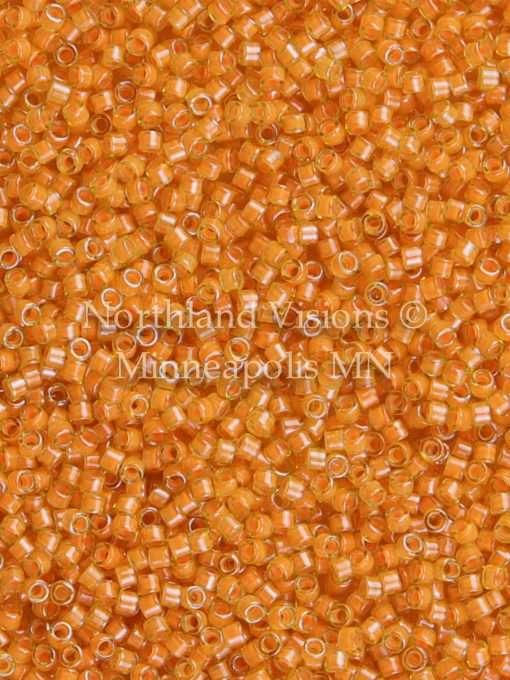 Miyuki Delica Cylinder/Seed Bead, DB2045, Luminous Inside Color Mango, 11/0 7 grams