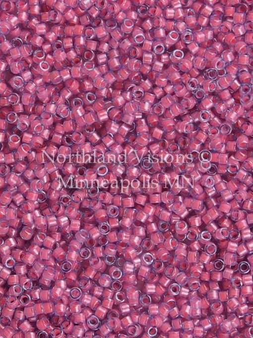 Miyuki Delica Cylinder/Seed Bead, DB2048, Luminous Inside Color Pink Taffy, 11/0 7 grams