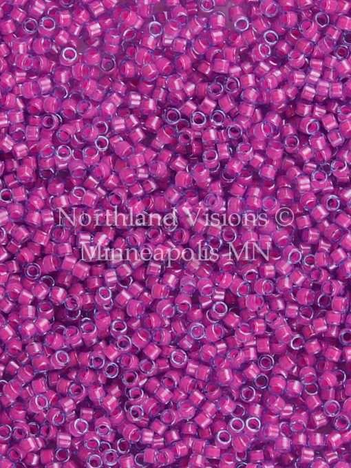 Miyuki Delica Cylinder/Seed Bead, DB2049, Luminous Inside Color Hot Pink, 11/0 7 grams