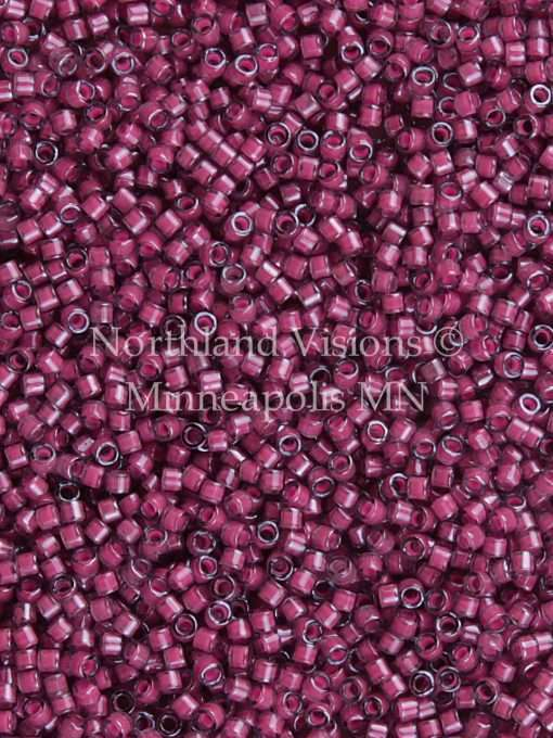 Miyuki Delica Cylinder/Seed Bead, DB2050, Luminous Inside Color Jazzberry, 11/0 7 grams