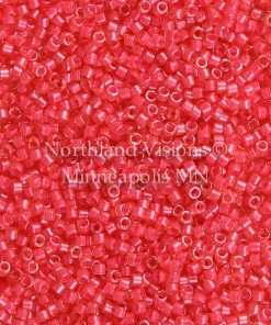 Miyuki Delica Cylinder Bead, DB2051, Luminous Inside Color Poppy Red, 11/0 7 grams
