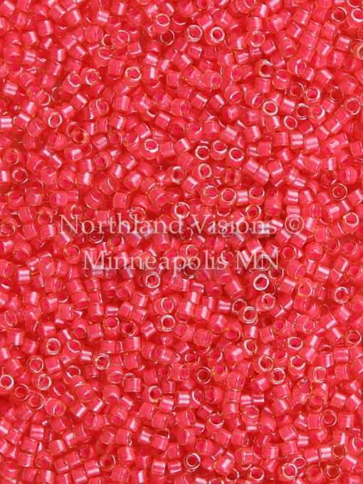 Miyuki Delica Cylinder/Seed Bead, DB2051, Luminous Inside Color Poppy Red, 11/0 7 grams