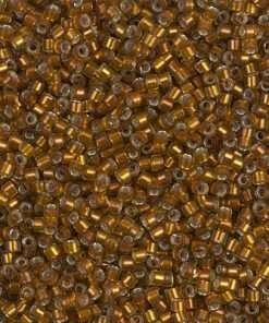 Miyuki Delica Cylinder/Seed Bead, DB1682, Transparent Silver Lined Glazed Dark Honey, 11/0 7 grams