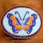12687-Beaded-Hair-Barret-seed-bead-oval-butterfly-Ojibwe-woodlands-beadwork
