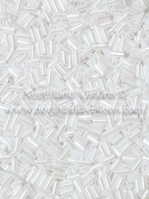 Japanese Bugle Bead, Miyuki BGL1-9528, Ceylon White Pearl, 3mm 10 grams