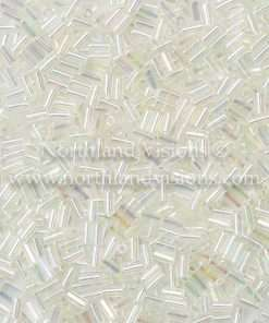 Japanese Bugle Bead, 2442, Transparent Crystal AB, 3mm 10 grams