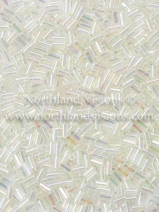 Japanese Bugle Bead, Miyuki BGL1-92442, Transparent Crystal AB, 3mm 10 grams