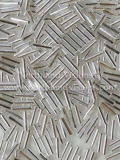 Japanese Bugle Bead, Miyuki BGL2-9061, Transparent Crystal Silver Lined, 6mm 10 grams
