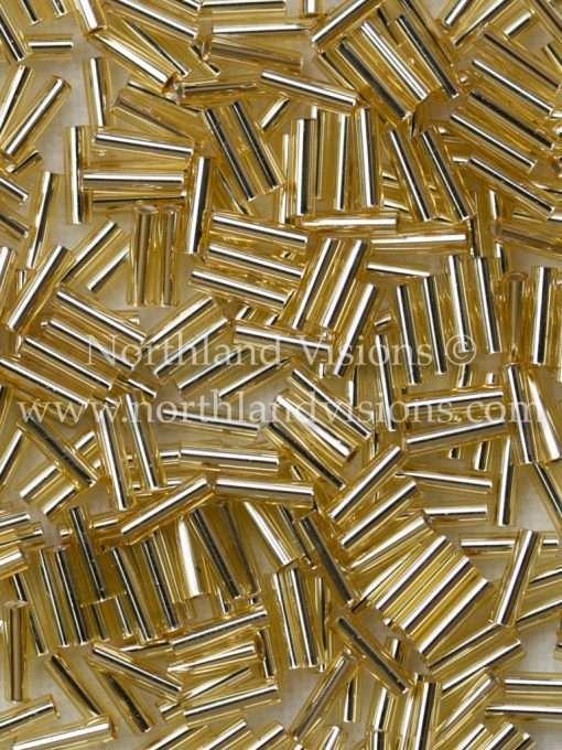 Japanese Bugle Bead, Miyuki BGL2-9062, Transparent Gold Silver Lined, 6mm 10 grams