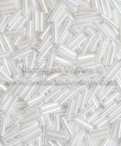 Japanese Bugle Bead, Miyuki BGL2-9528, Ceylon White Pearl, 6mm 10 grams