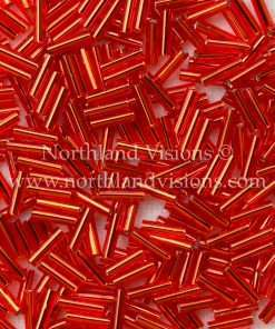 Japanese Bugle Bead, Miyuki BGL2-9043, Transparent Red Silver Lined, 6mm 10 grams