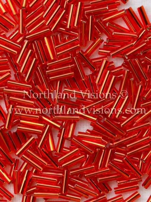 Japanese Bugle Bead, Miyuki BGL2-9043, Transparent Red Silver Lined, 6mm 10 grams