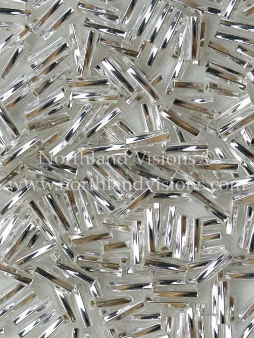 Japanese Bugle Bead, Miyuki TW206-1, Twisted Transparent Crystal Silver Lined, 6mm 10 grams