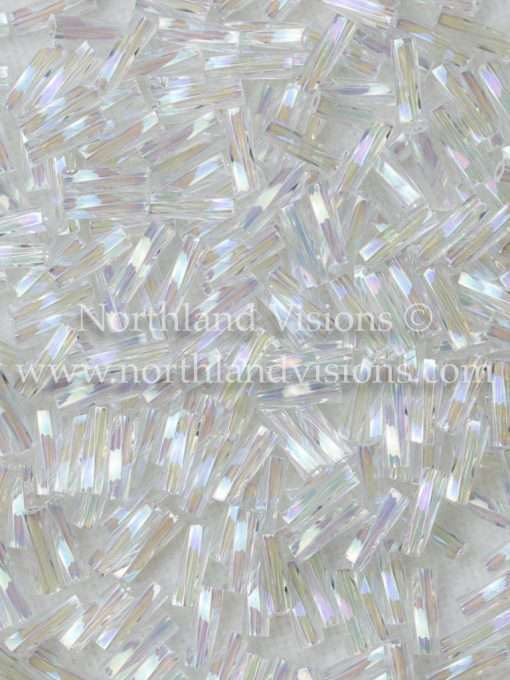 Japanese Bugle Bead, Miyuki TW206-250, Twisted Transparent Crystal AB, 6mm 10 grams