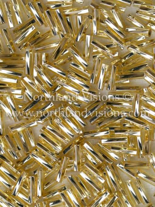 Japanese Bugle Bead, Miyuki TW206-3, Twisted Transparent Gold Silver Lined, 6mm 10 grams