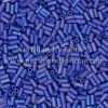 Japanese Bugle Bead, Miyuki BGL1-9414FR, Opaque Cobalt Blue AB Matte, 3mm 10 grams