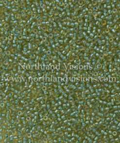 Japanese Seed Bead, Matsuno 11-356F, Transparent Topaz/Color Lined Green, 11/0 30 grams