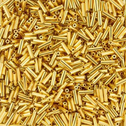 Japanese Bugle Bead, Miyuki BGL2-9191, Opaque 24Kt Gold Plated, 6mm 7 grams