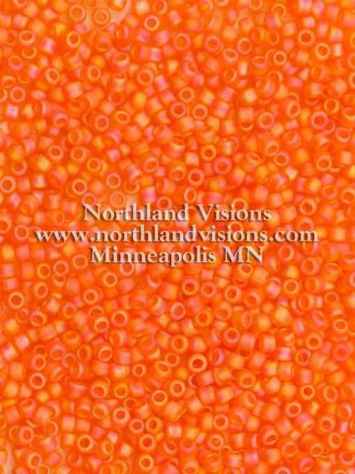 Japanese Seed Bead, Matsuno 11-F253, Transparent Orange AB Matte, 11/0 30 grams